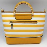 Yellow Striped leather handbag