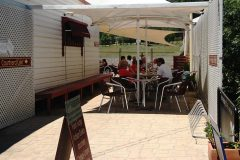 Relax in the shade at the Courtyard Cafe Mogo